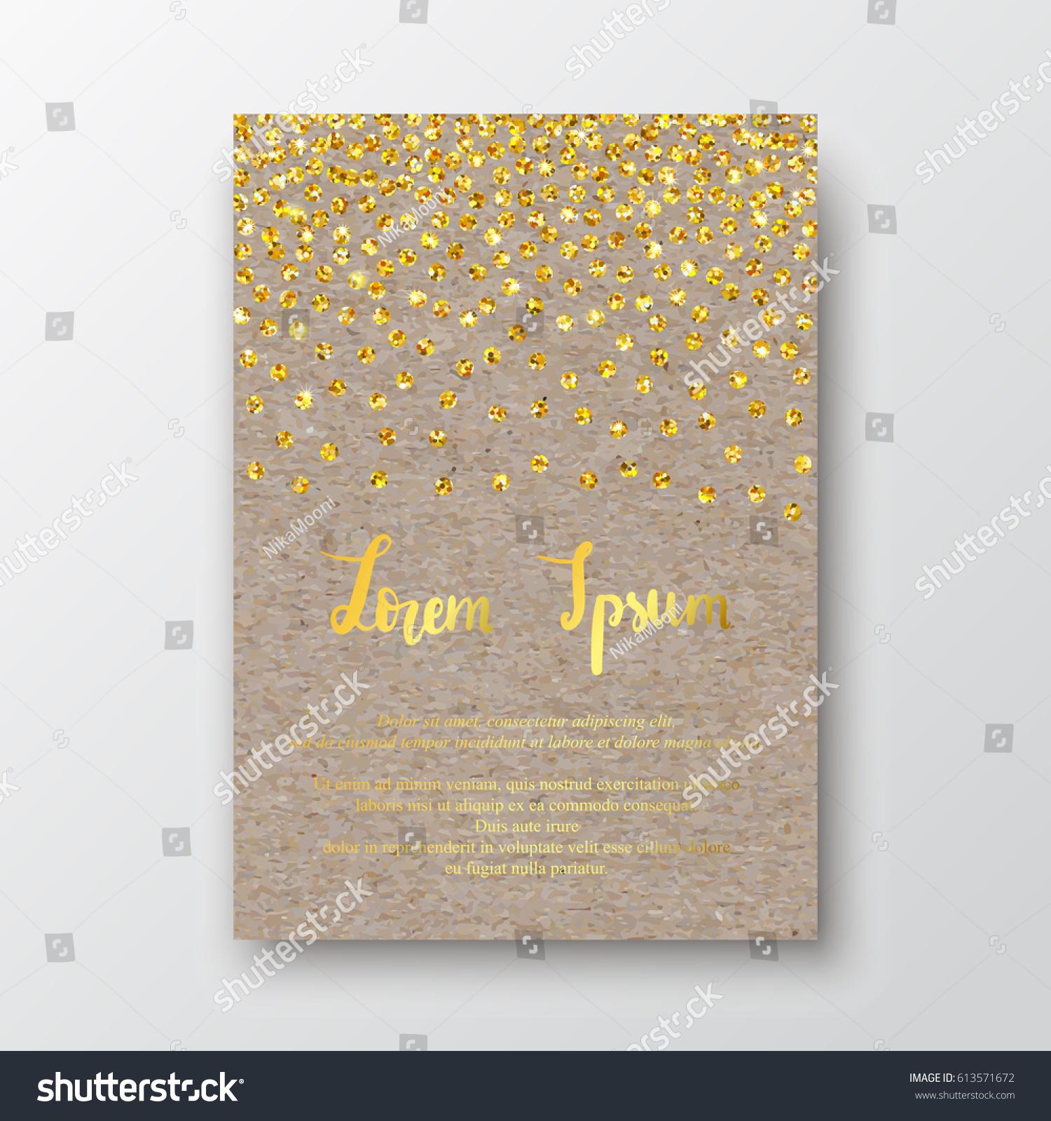 Gold Glitter Border On Craft Paper Stock Vector 613571672 ...