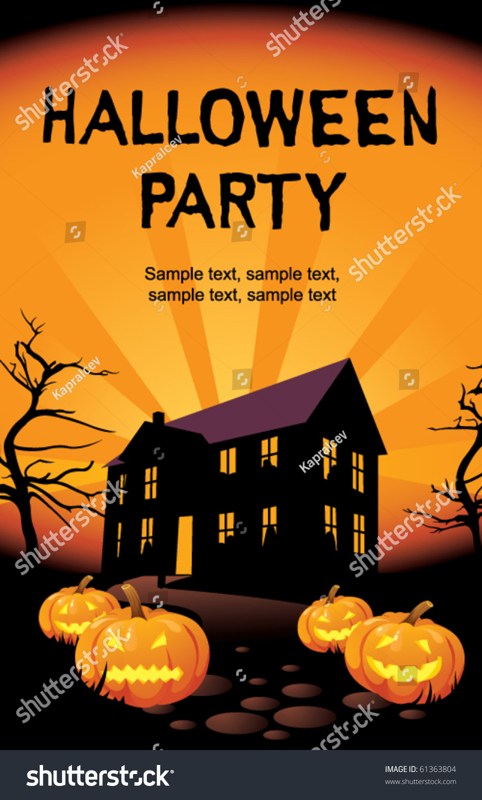 Halloween party home invitation card stock vector 61363804 halloween party at home invitation card stopboris Gallery