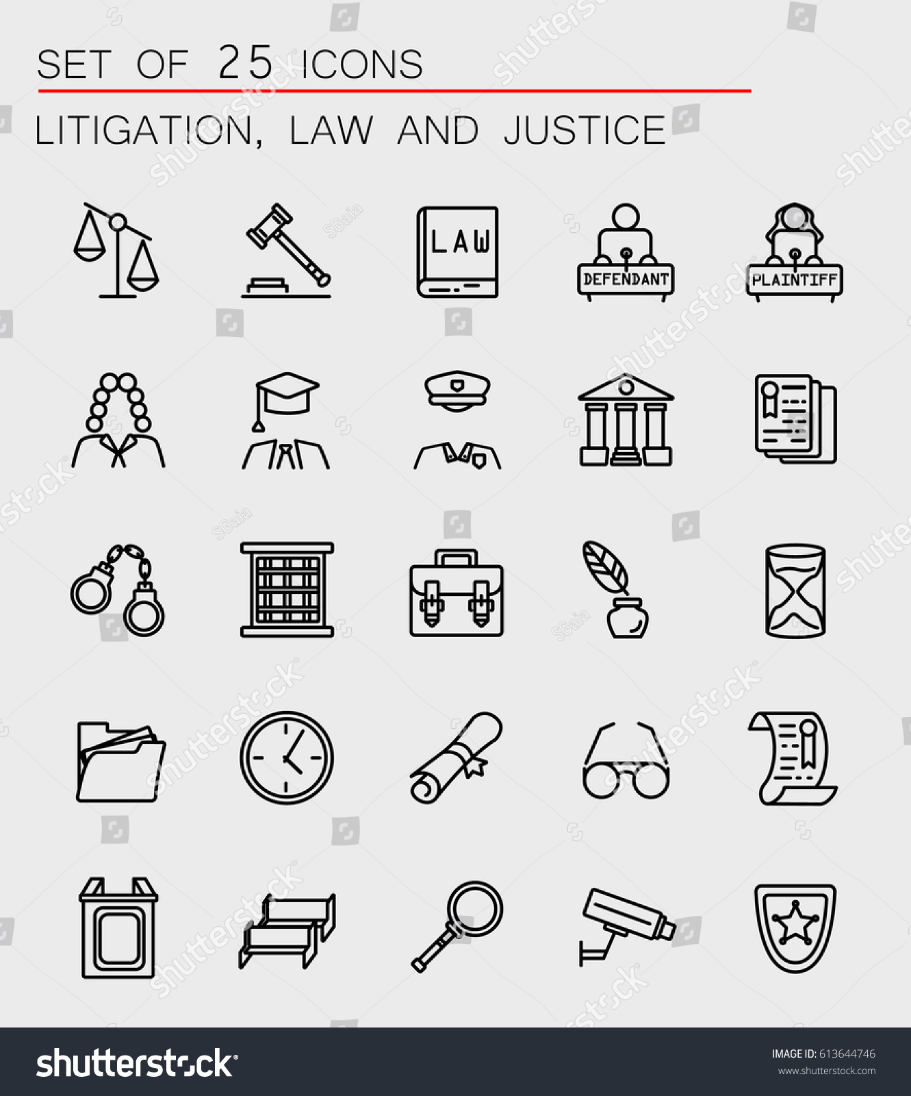 Set 25 Law Justice Icons Web Stock Vector 613644746 Shutterstock