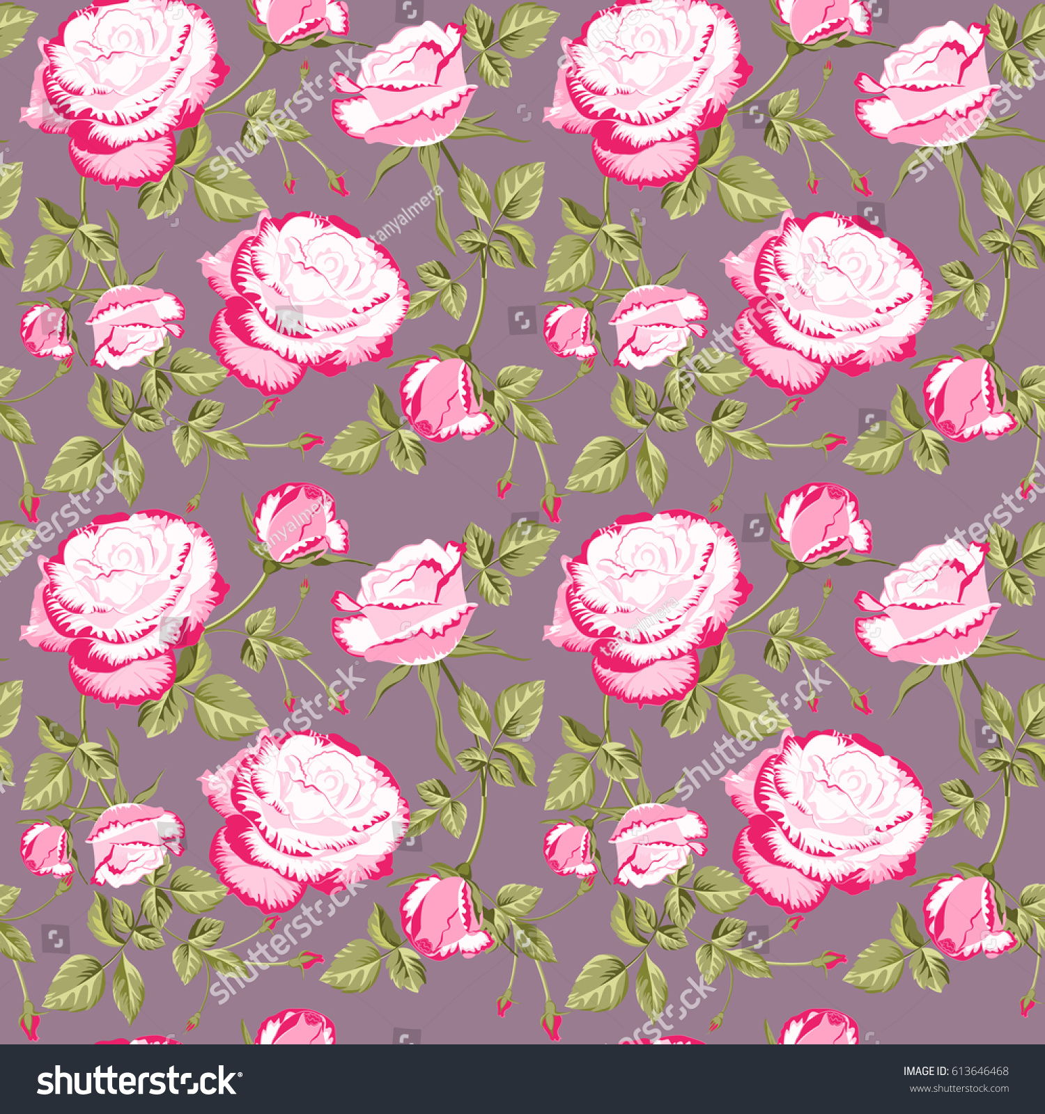 seamless pattern floral ornament beautiful pink stock vector