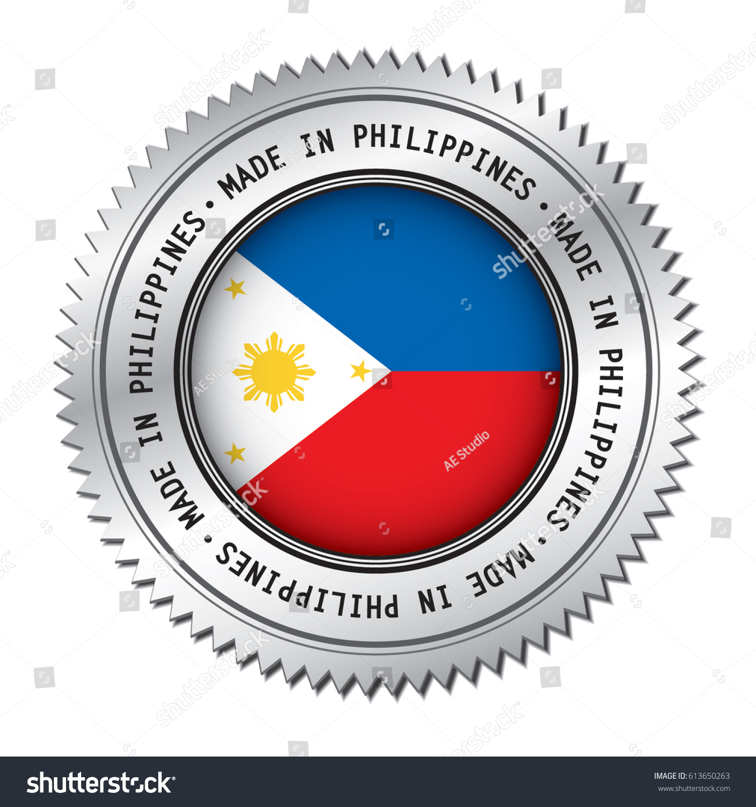Made philippines silver badge flag symbol stock vector 613650263 made in philippines silver badge with the flag symbol of philippine flag in the center biocorpaavc Choice Image