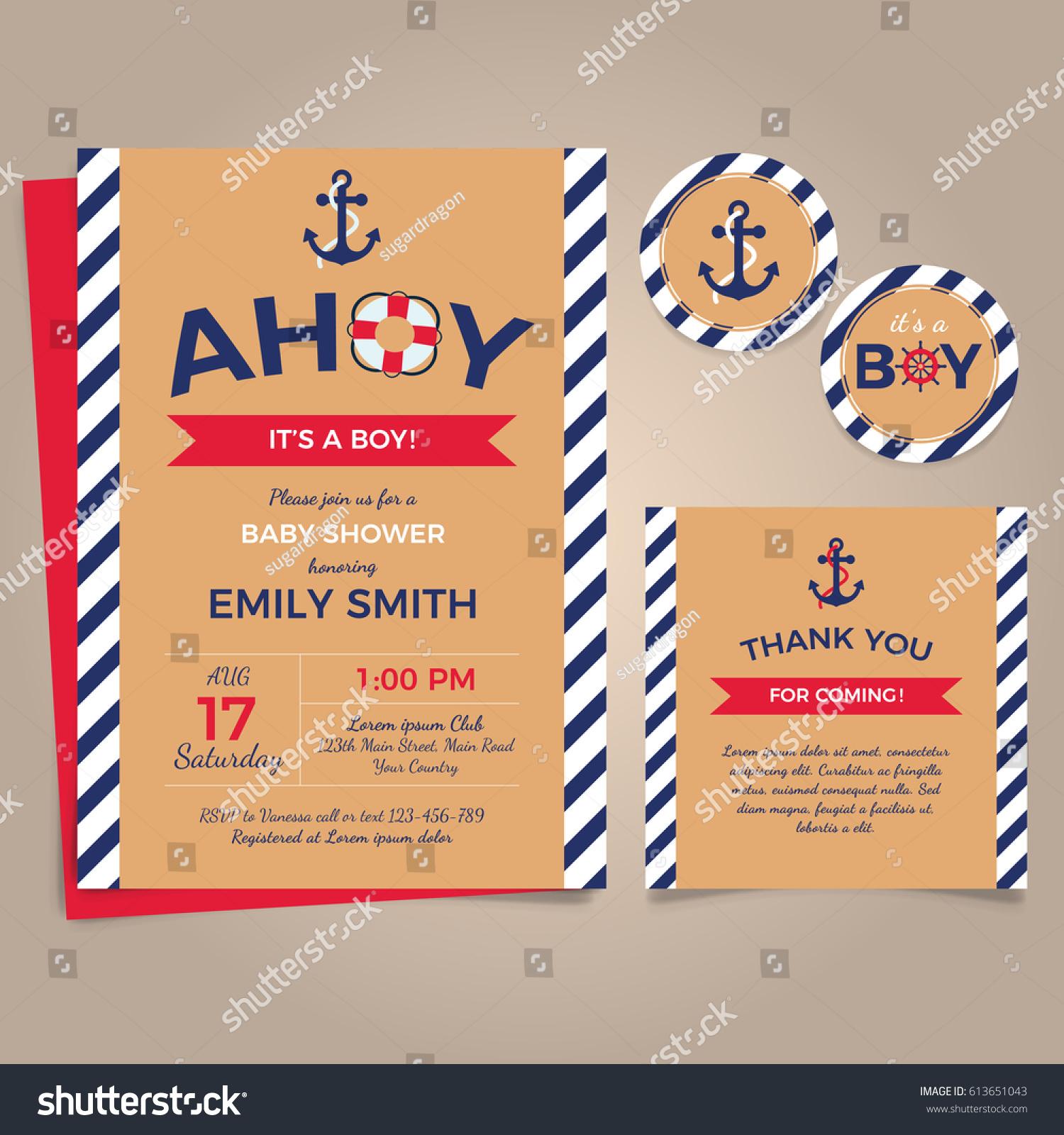 Nautical Birthday Invitation Design Template Stock Vector ...