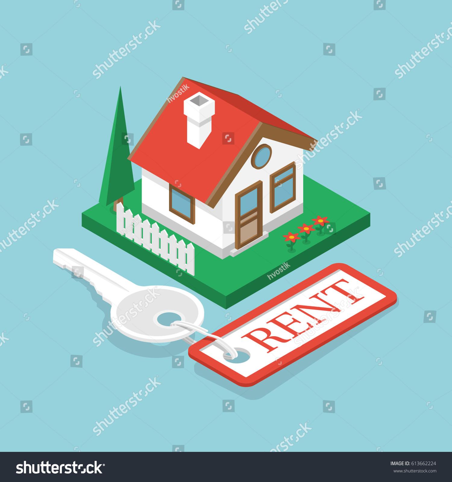 Rent House Isometric Design Key Trinket Stock Vector