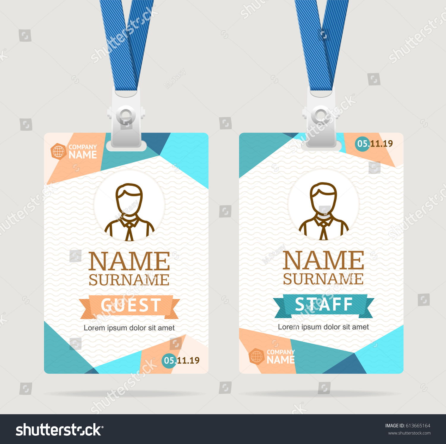 id card template plastic badge abstract stock vector royalty free