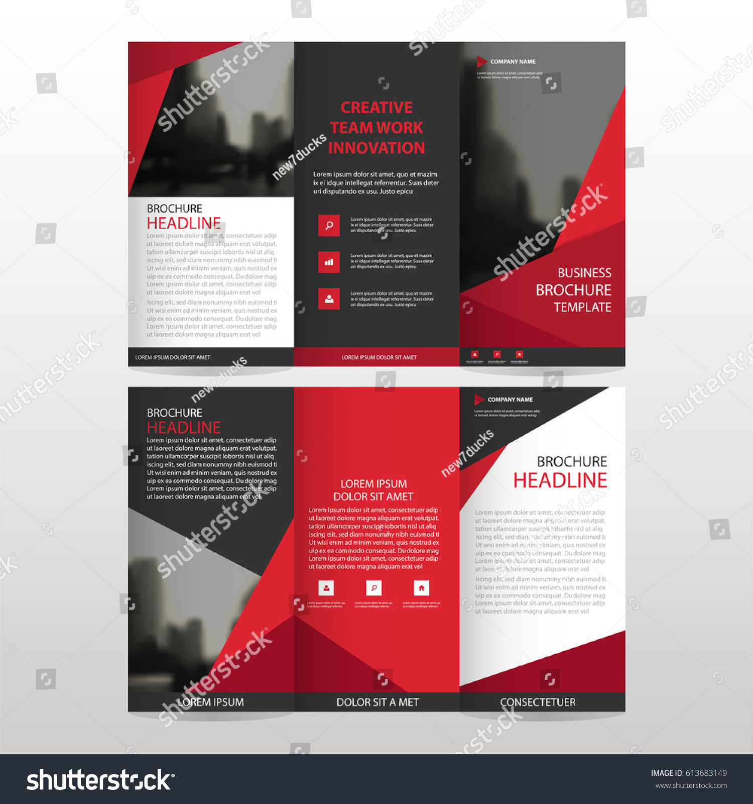 red triangle business trifold leaflet brochure stock