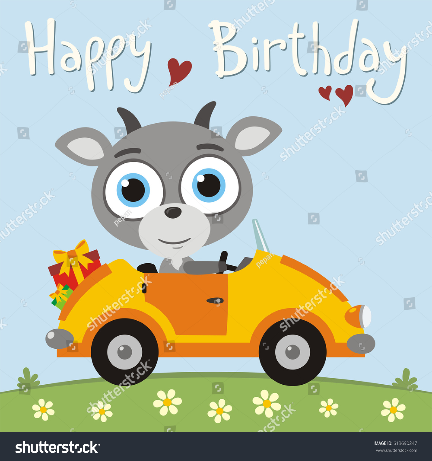 Happy birthday! Funny goat going in car with gifts. Greeting card.