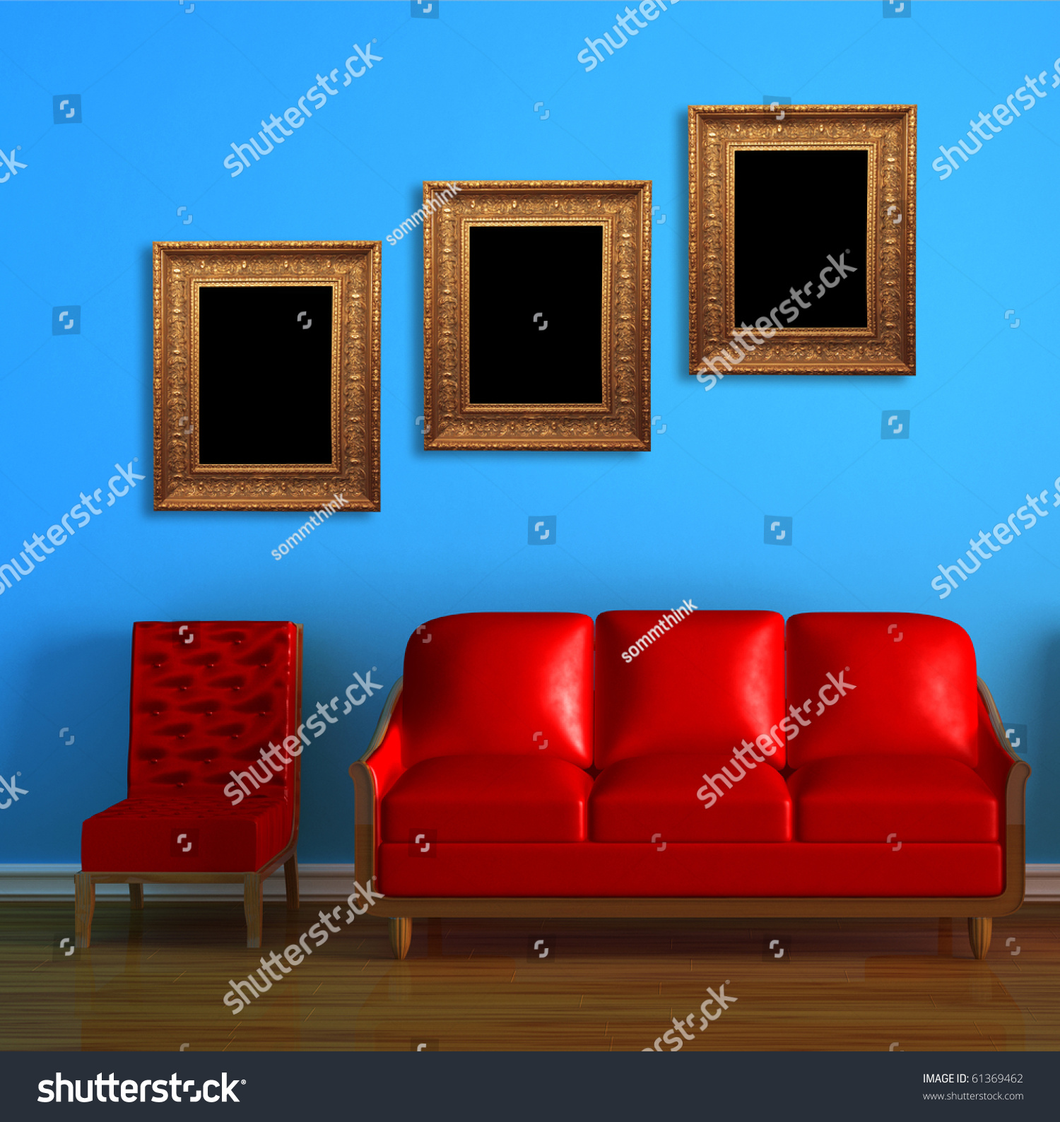 Red Couch Char Modern Frames Blue Stock Illustration