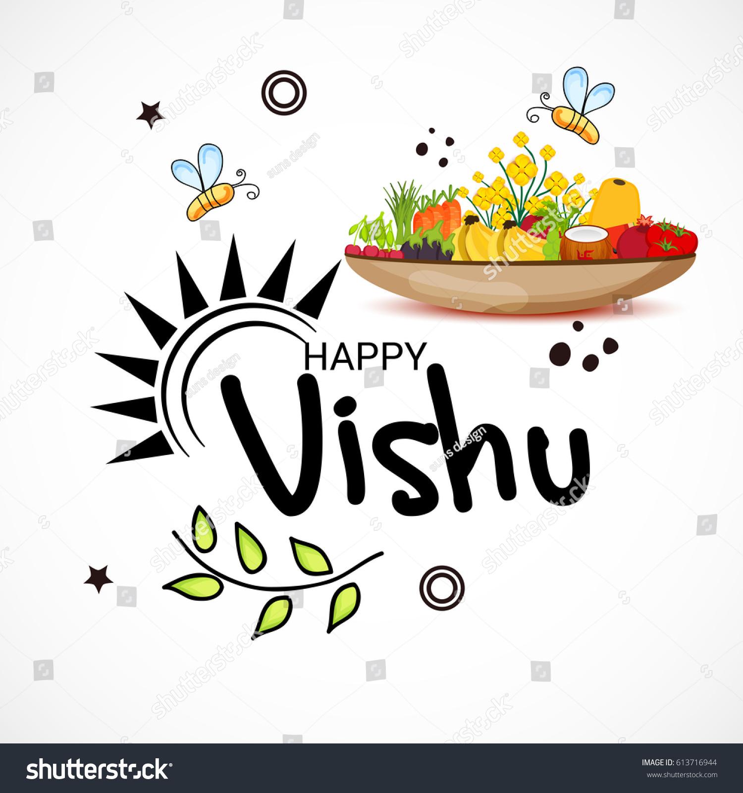Vector Illustration Banner Happy Vishu Typography Stock Vector