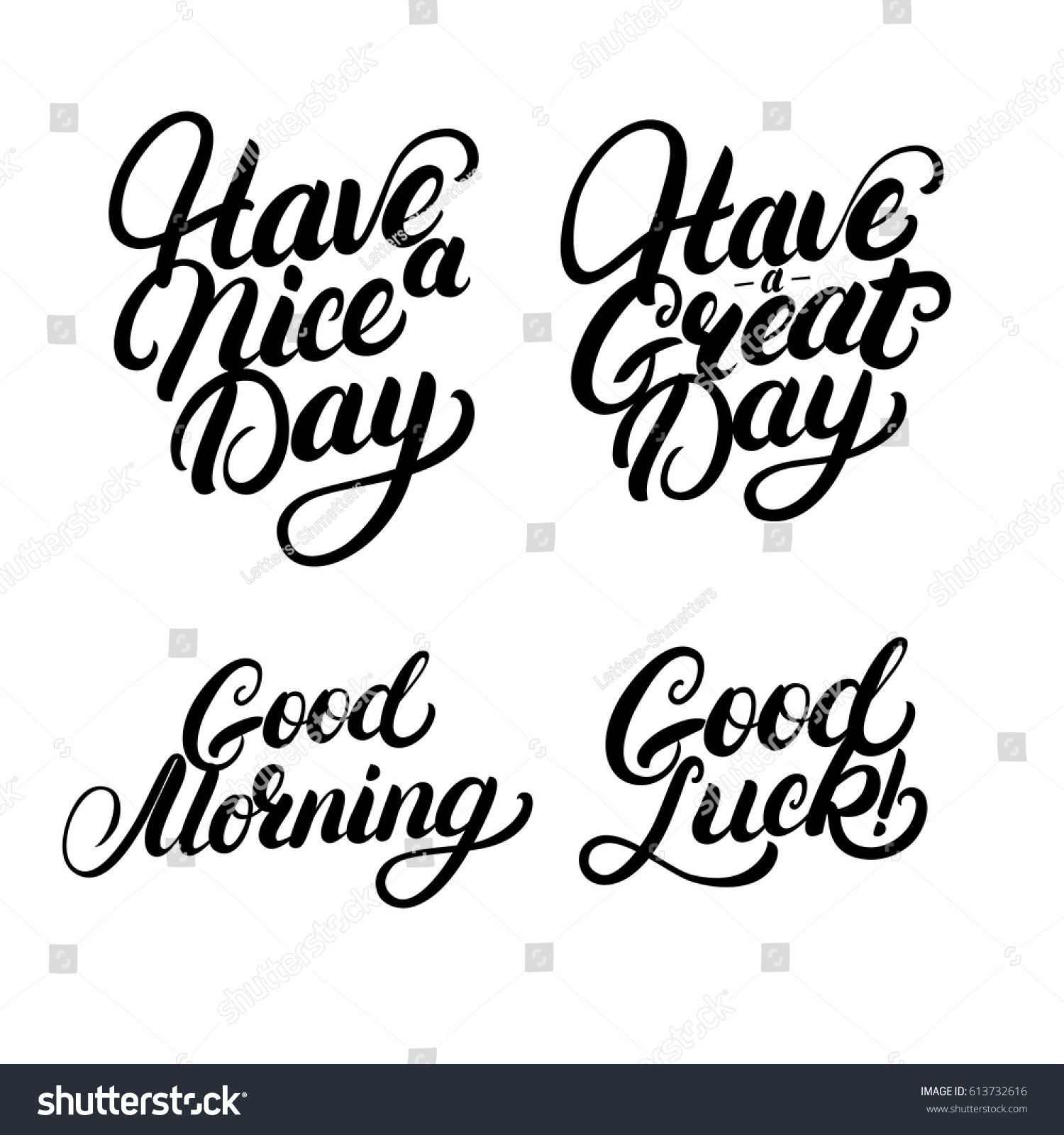 Set Good Morning Good Luck Have Stock Vector Royalty Free 613732616