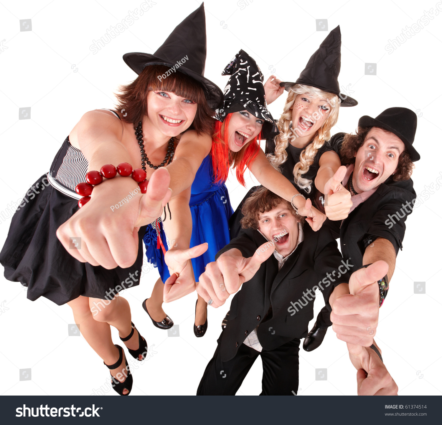 Group People Witch Costume Isolated Stock Photo 61374514 ...