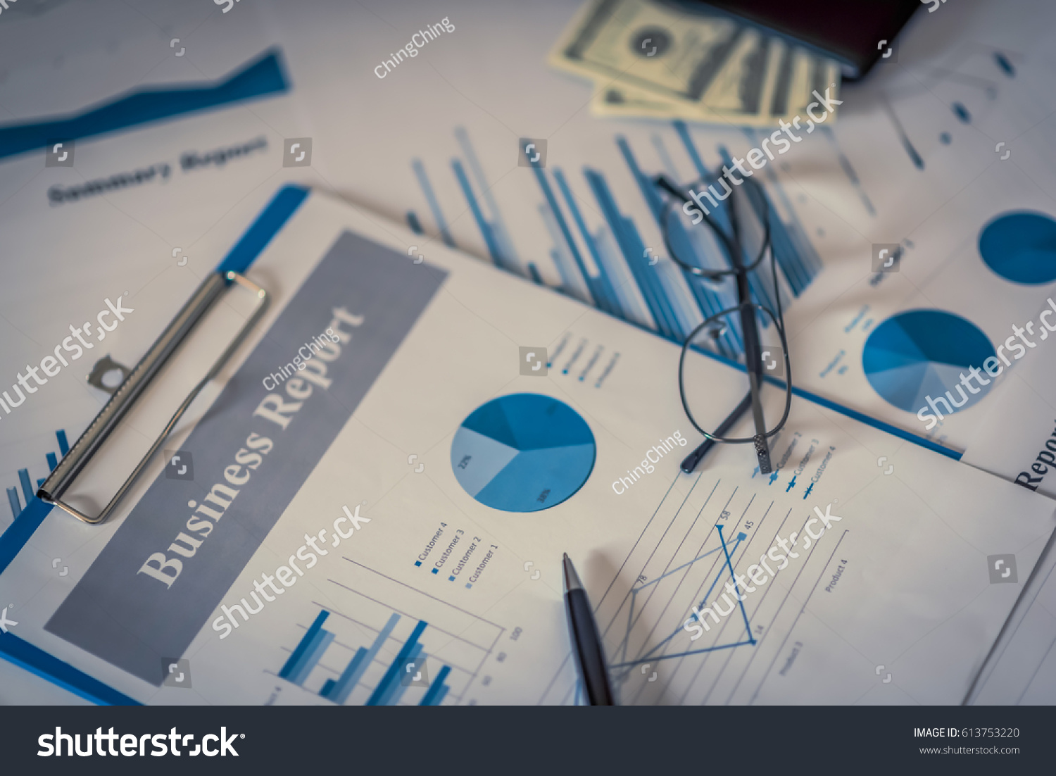 Magnifying Glass Pen And Calculator On Growth Financial Chart Computer Mouse Management A Success Diagram Stock Image Graph Business Concept Ez Canvas