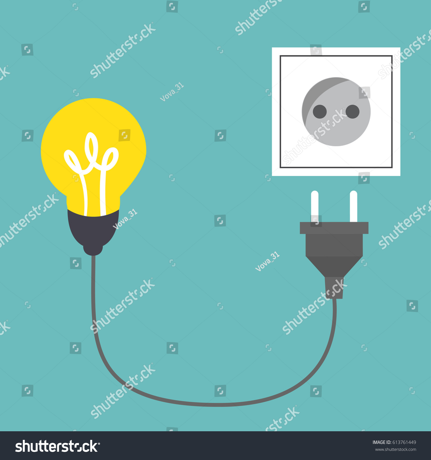 Connect Idea Bulb Light Cord Electrical Stock Vector (Royalty Free ...