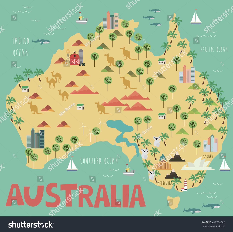 Australia Map Landmarks.Illustration Map Australia Landmarks Vector Illustration