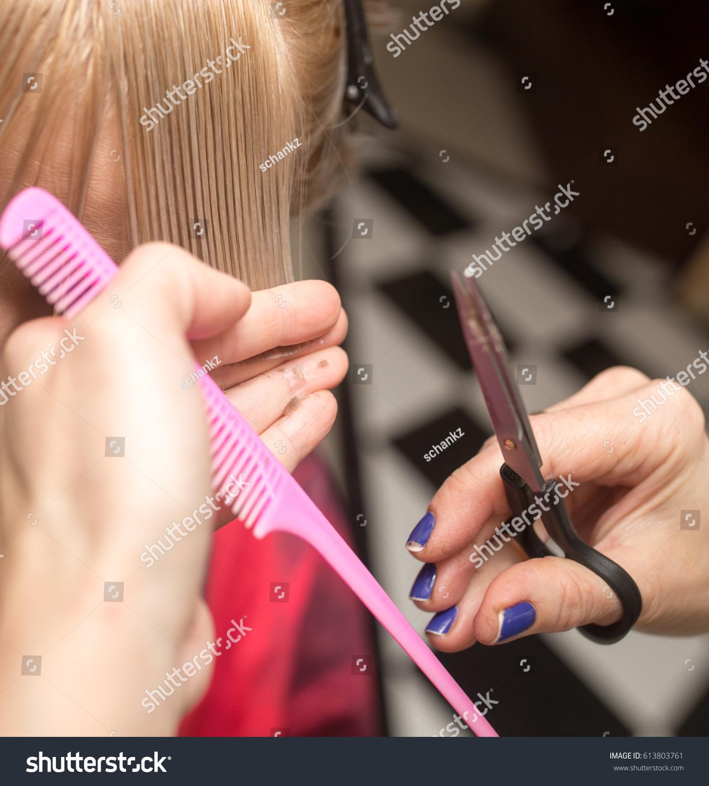 Female Haircut Scissors Stock Photo Royalty Free 613803761