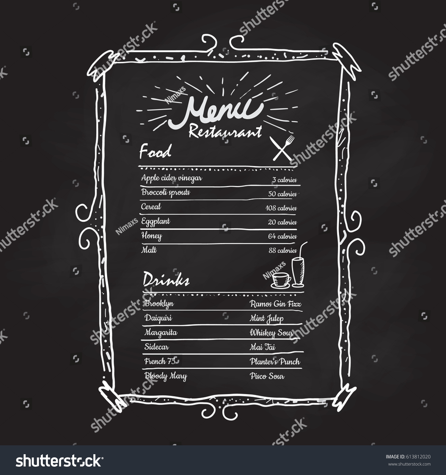 hand drawn frame restaurant menu vintage stock vector (royalty free