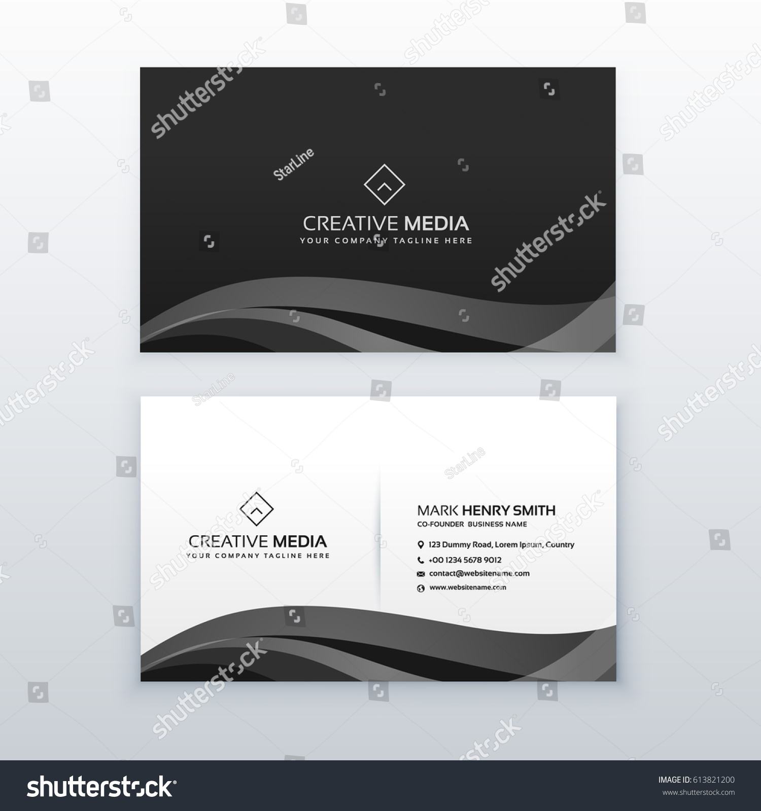 Modern Professional Dark Business Card Design Stock Vector 613821200 ...