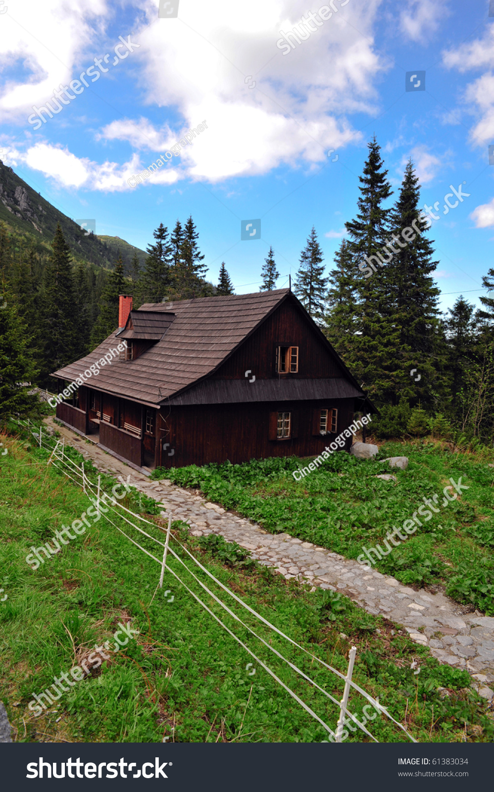 Small house in the mountains stock photo 61383034 - House in the mountains ...