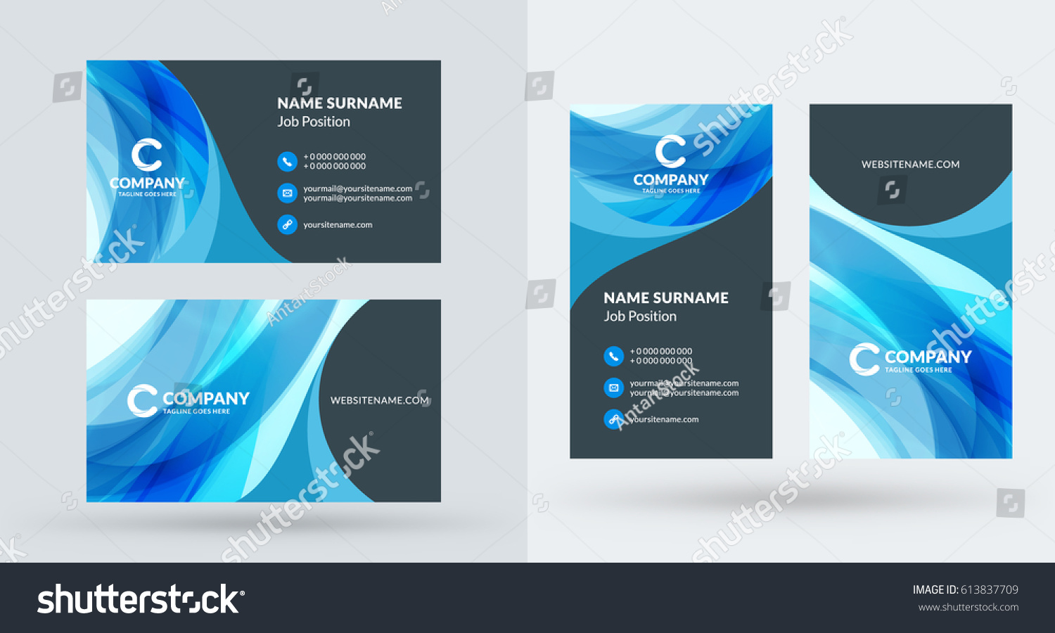 Doublesided creative business card template portrait stock vector double sided creative business card template portrait and landscape orientation horizontal and vertical accmission