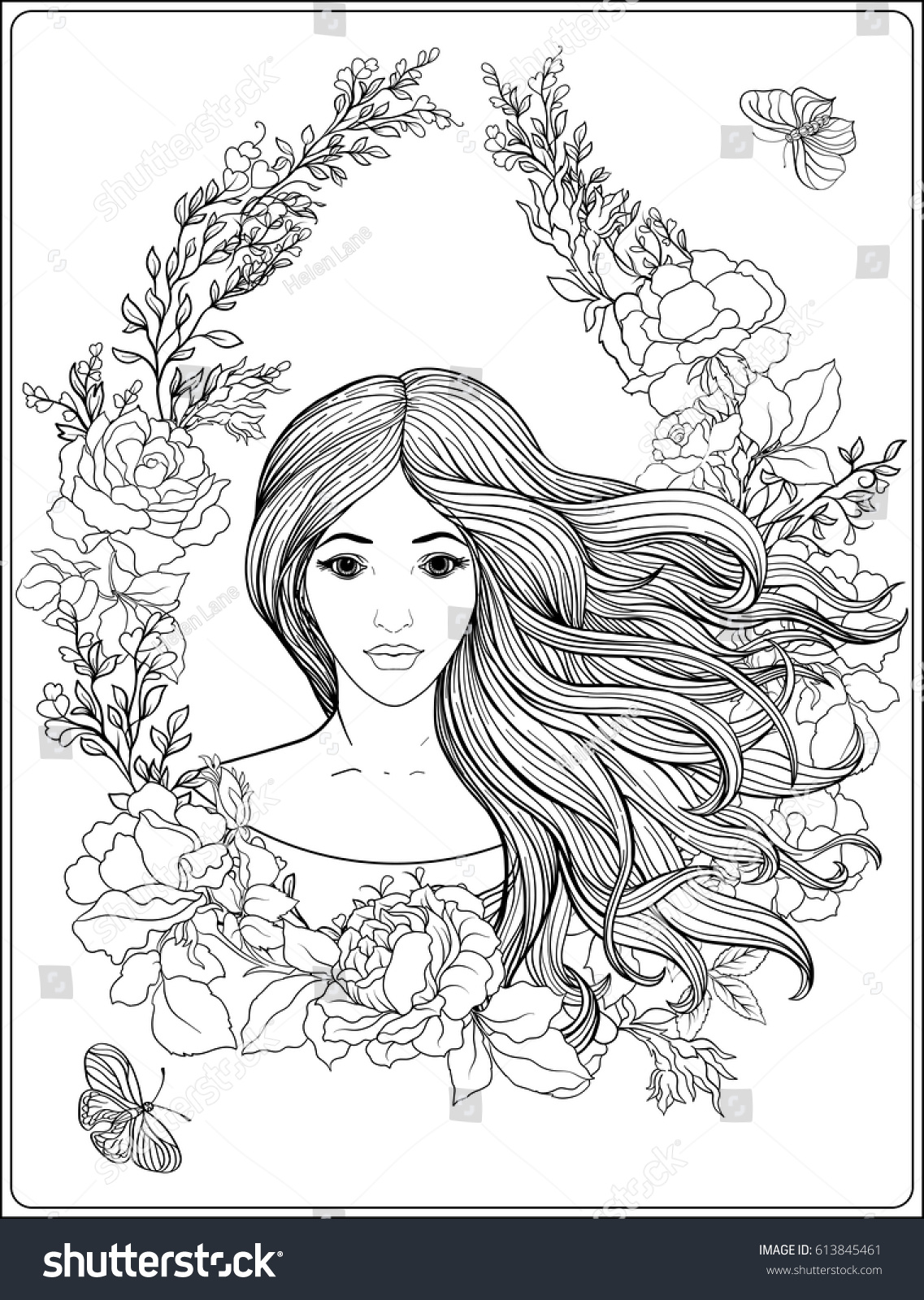 Royalty Free Young Beautiful Girl With Long Hair In 613845461