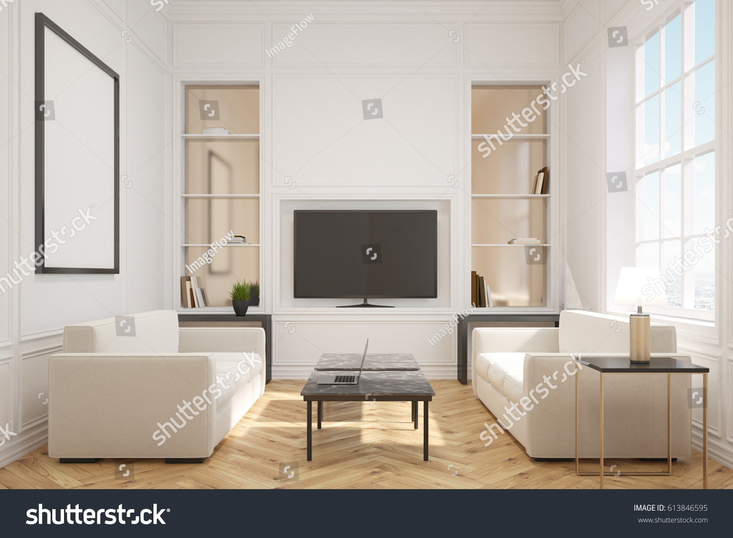 Front view of a living room interior with a tv set with wide screen hanging on