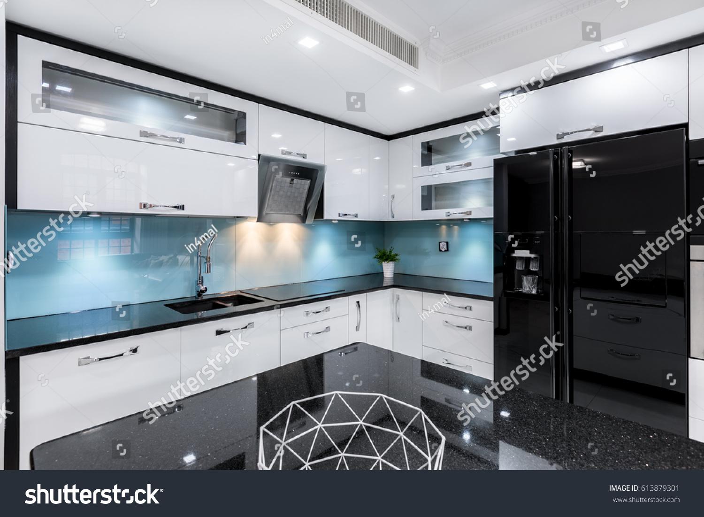 Modern Black White Gloss Kitchen Table Stock Photo (Edit Now ...