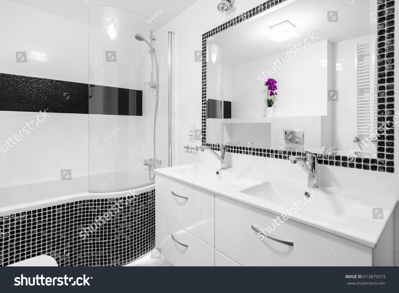 Black White Luxury Bathroom Mosaic Tiles Stock Photo (Edit Now ...
