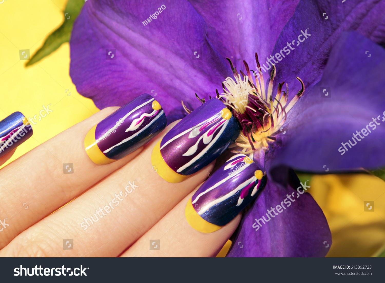Summer Lilac Yellow Nail Design Long Stock Photo (Royalty Free ...