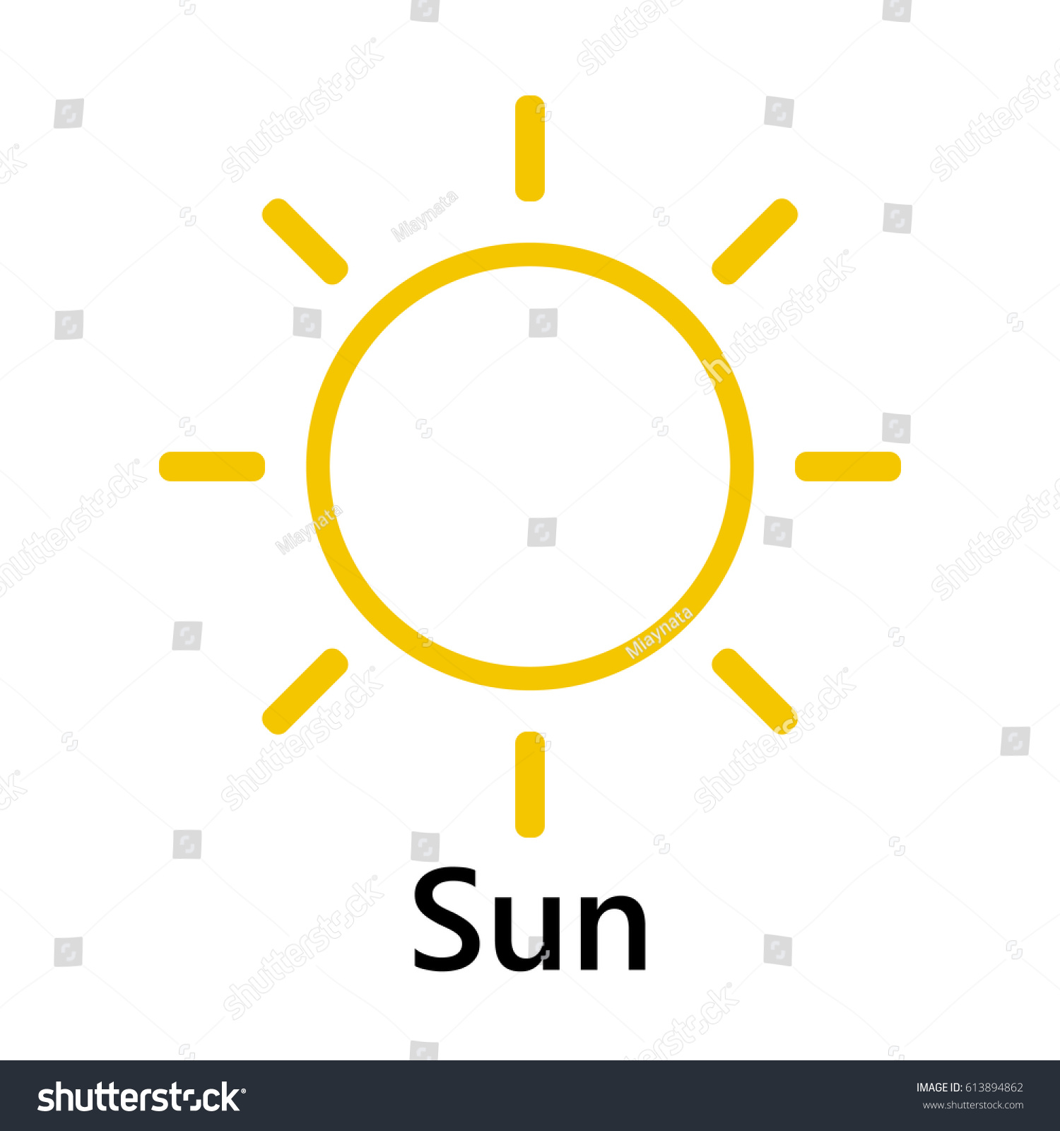 Sun Symbol Straight Yellow Text On Stock Vector Royalty Free