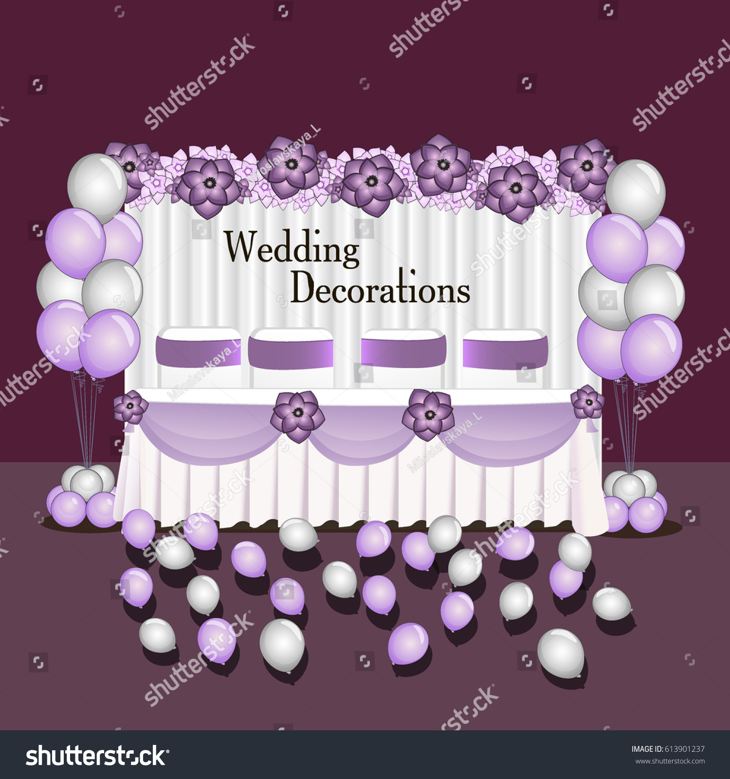 Decoration wedding balloon composition table wedding stock vector decoration for wedding balloon composition table wedding event decor style color air ball and flower junglespirit Gallery