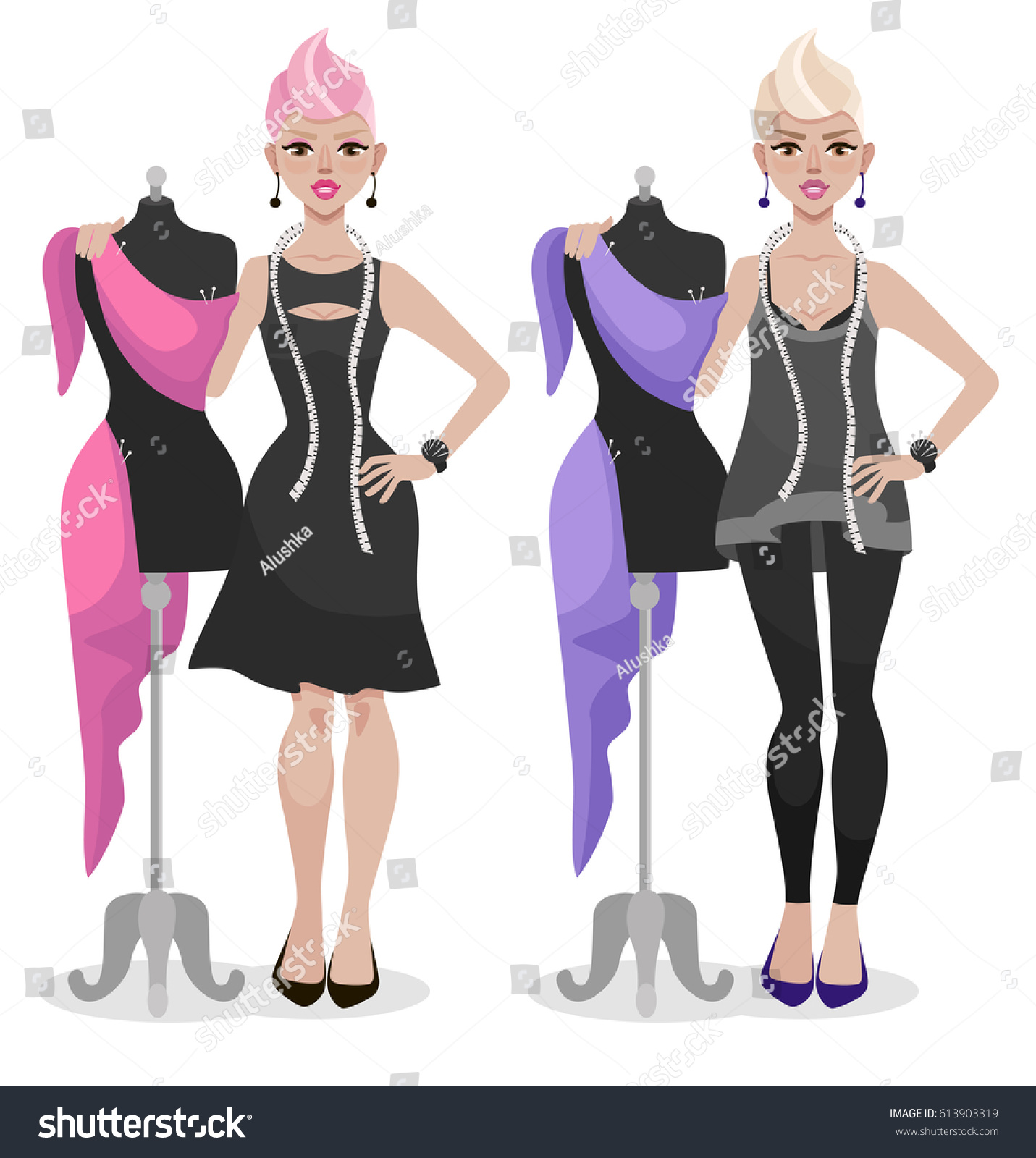 Fashion Designer Standing Near Mannequin Womens Stock