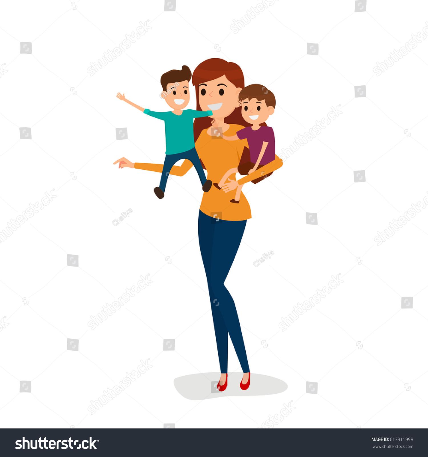 Happy Family Mother 2 Son Happy Stock Vector Royalty Free 613911998