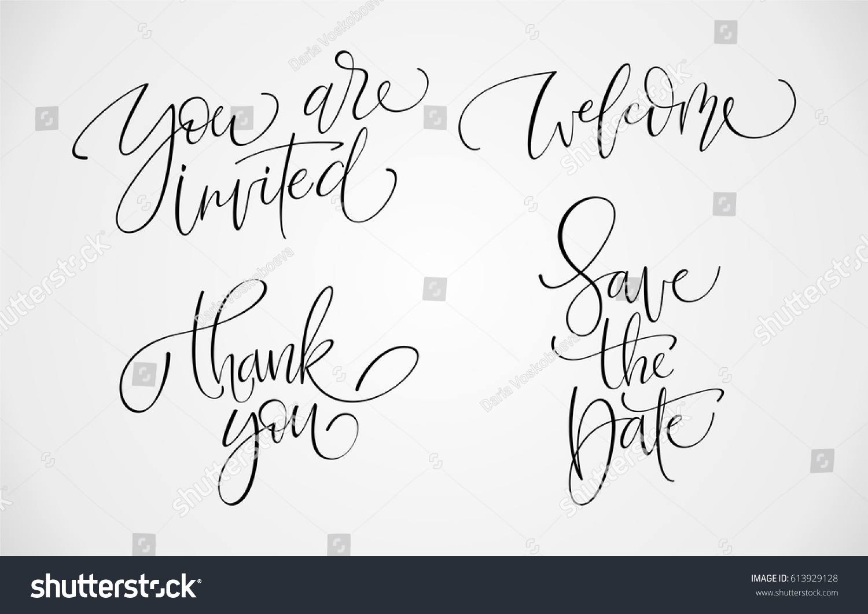 Lettering Set Party Invitations Birthday Wedding Stock Vector ...