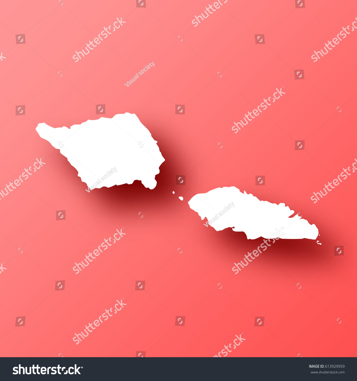 Cyprus Map Vector%0A Where Is Samoa On The Map Samoa Map isolated on red background with shadow  High detailed