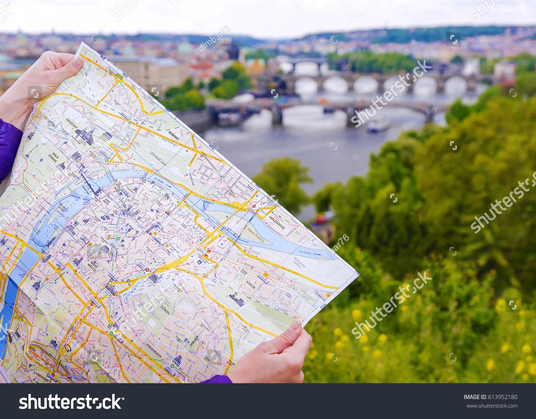 Tourist Map Prague On Background Panorama Stock Photo Royalty Free