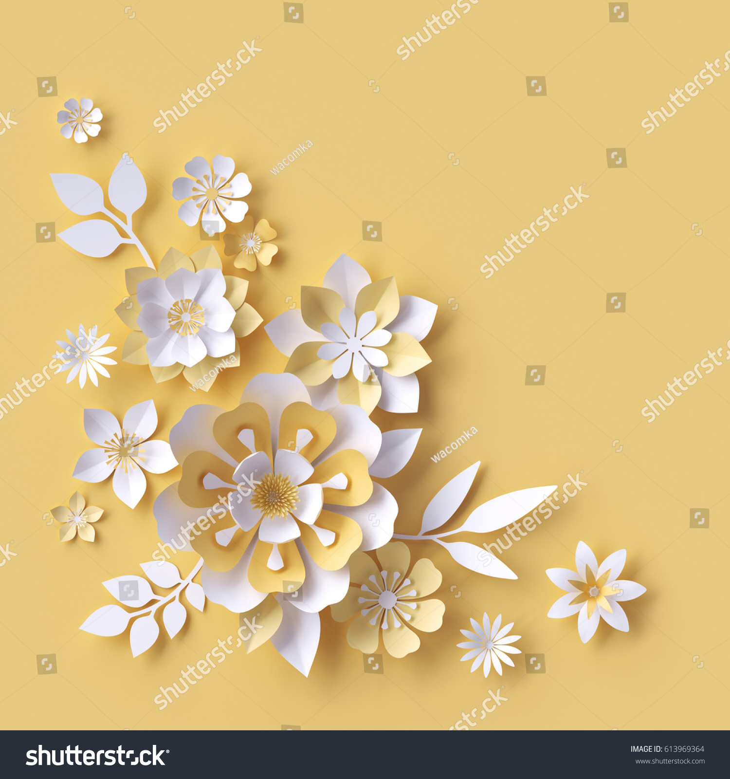 3 D Render Abstract Paper Flowers Decorative Stock Illustration ...