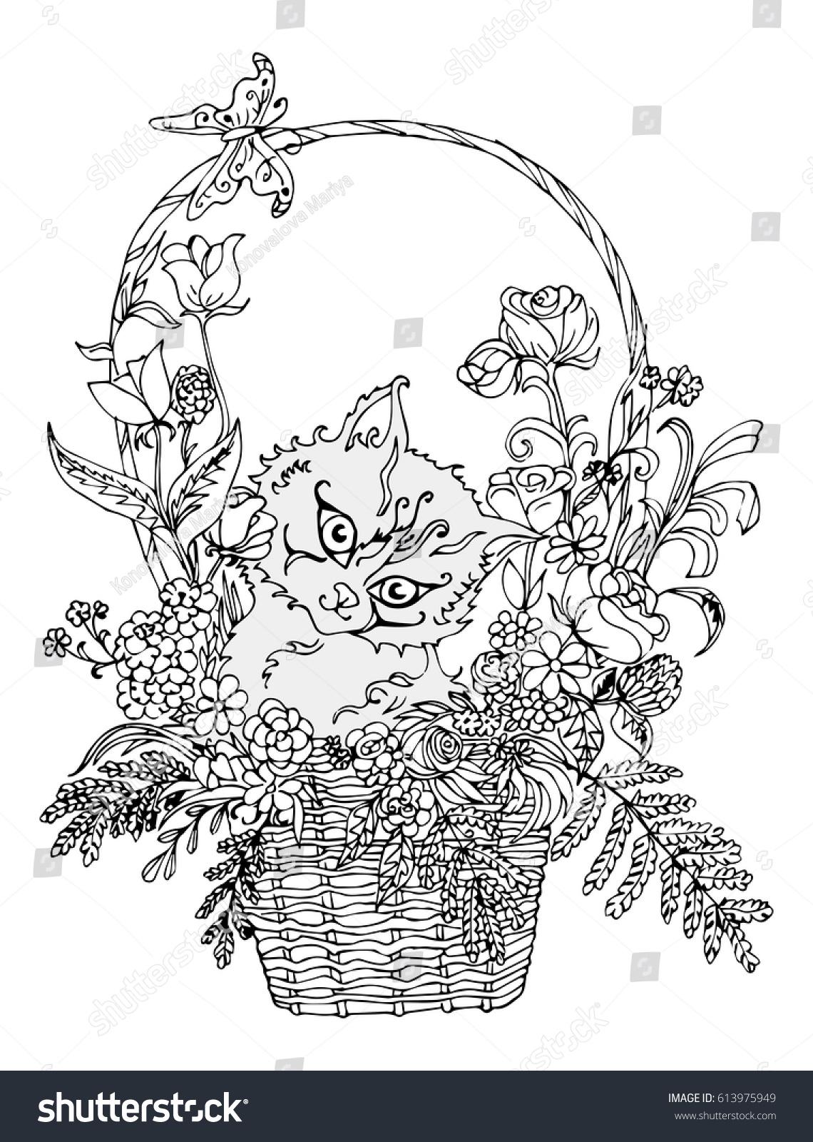 vector image kitten basket flowers ornament stock vector 613975949