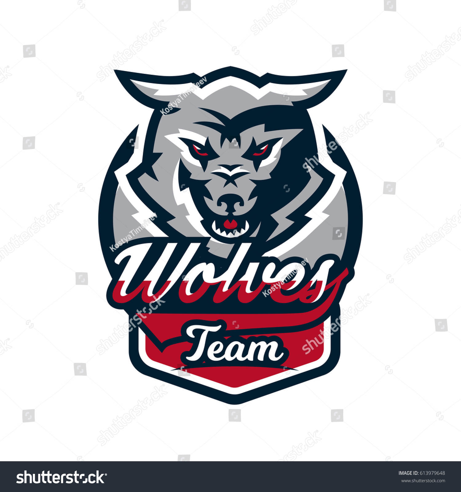 Emblem logo sticker aggressive wolf ready to attack predator vector illustration