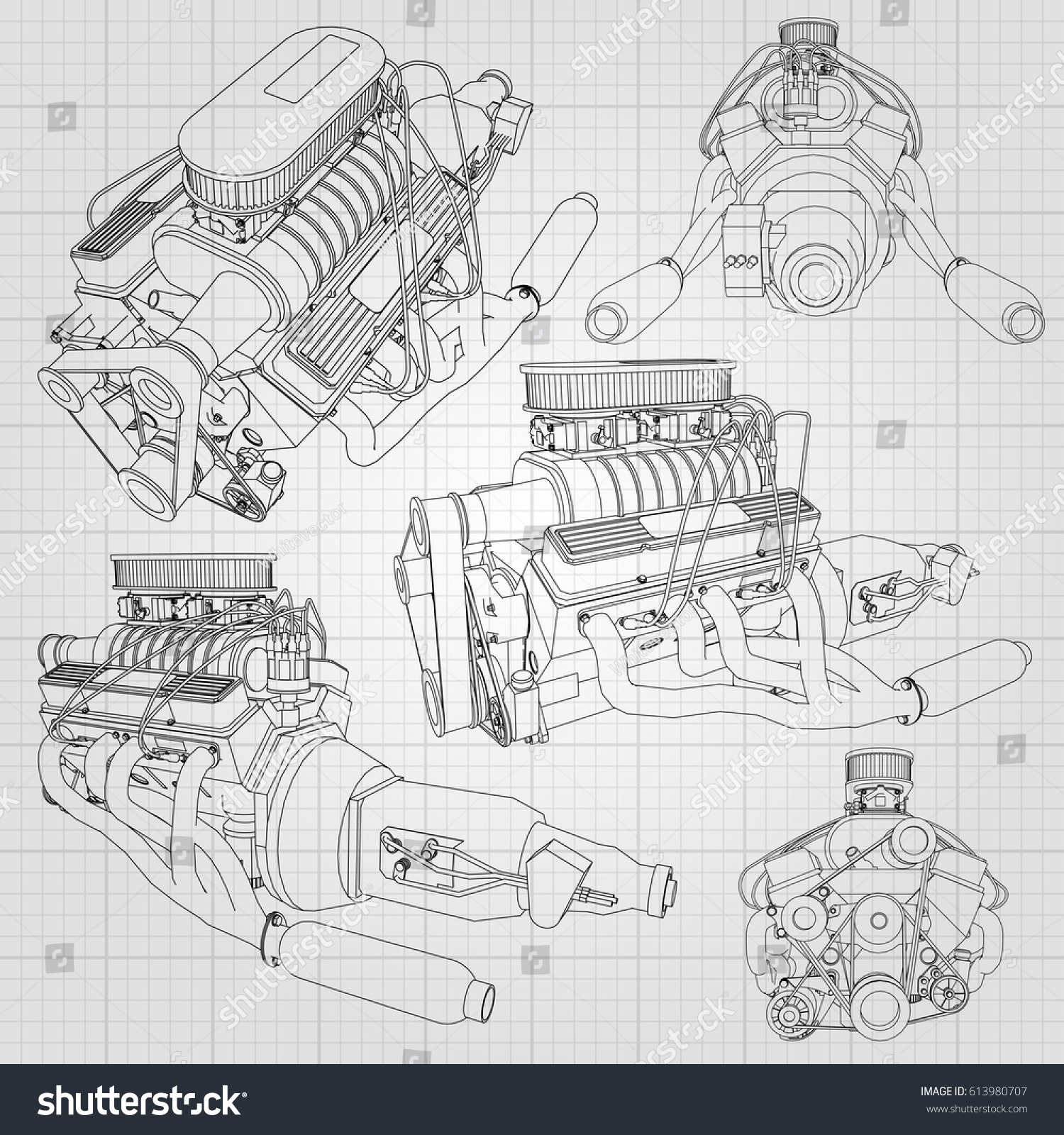 Set Several Types Powerful Car Engine Stock Vector HD (Royalty Free ...