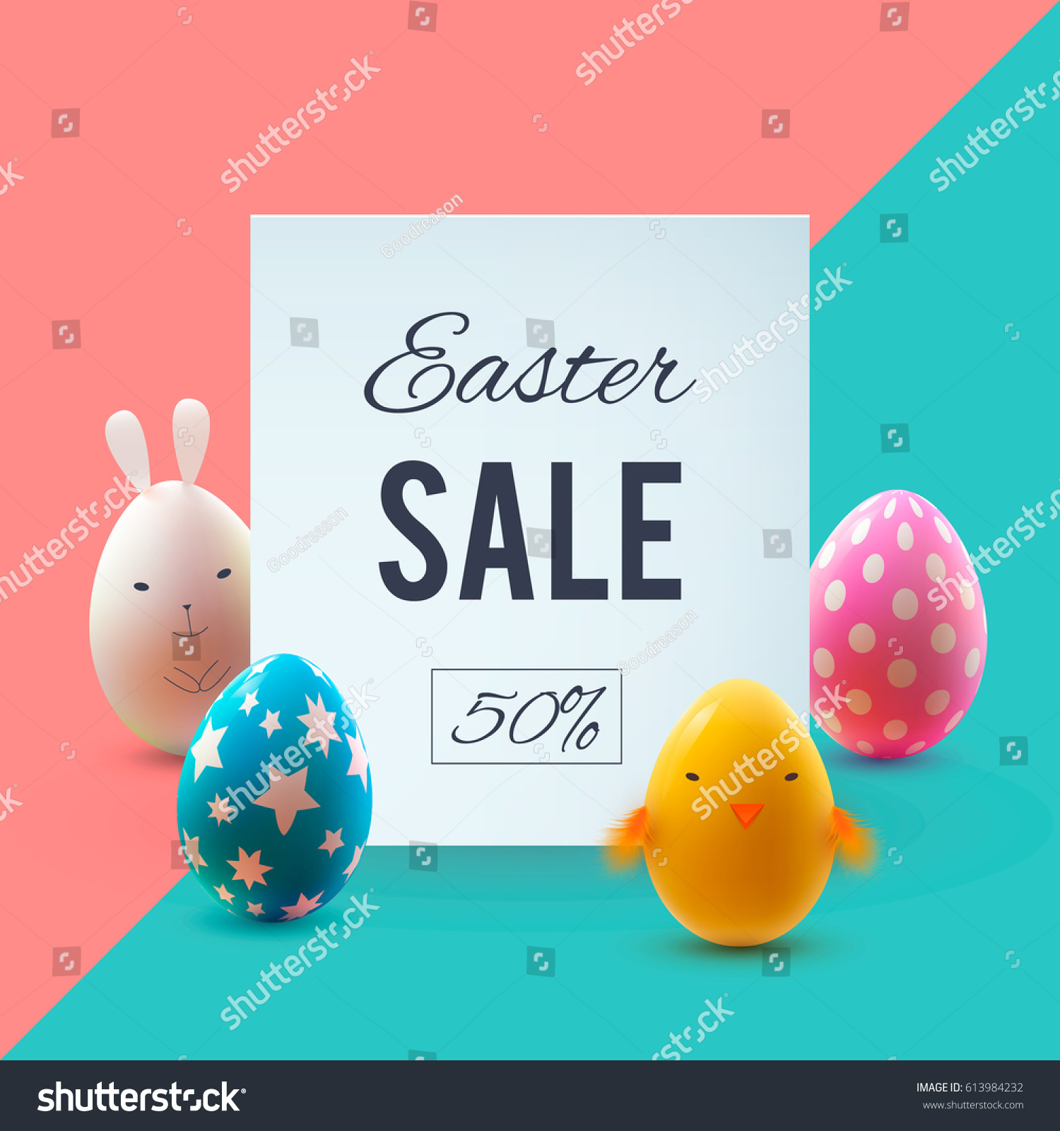 Easter Sale: Easter Sale Banner Beautiful Colorful Eggs Stock Vector