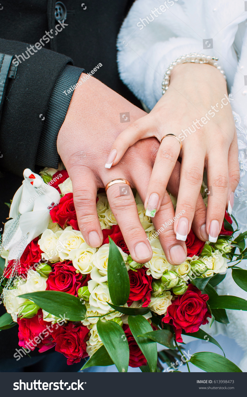 Bride Groom Holding Hands On Background Stock Photo (Royalty Free ...