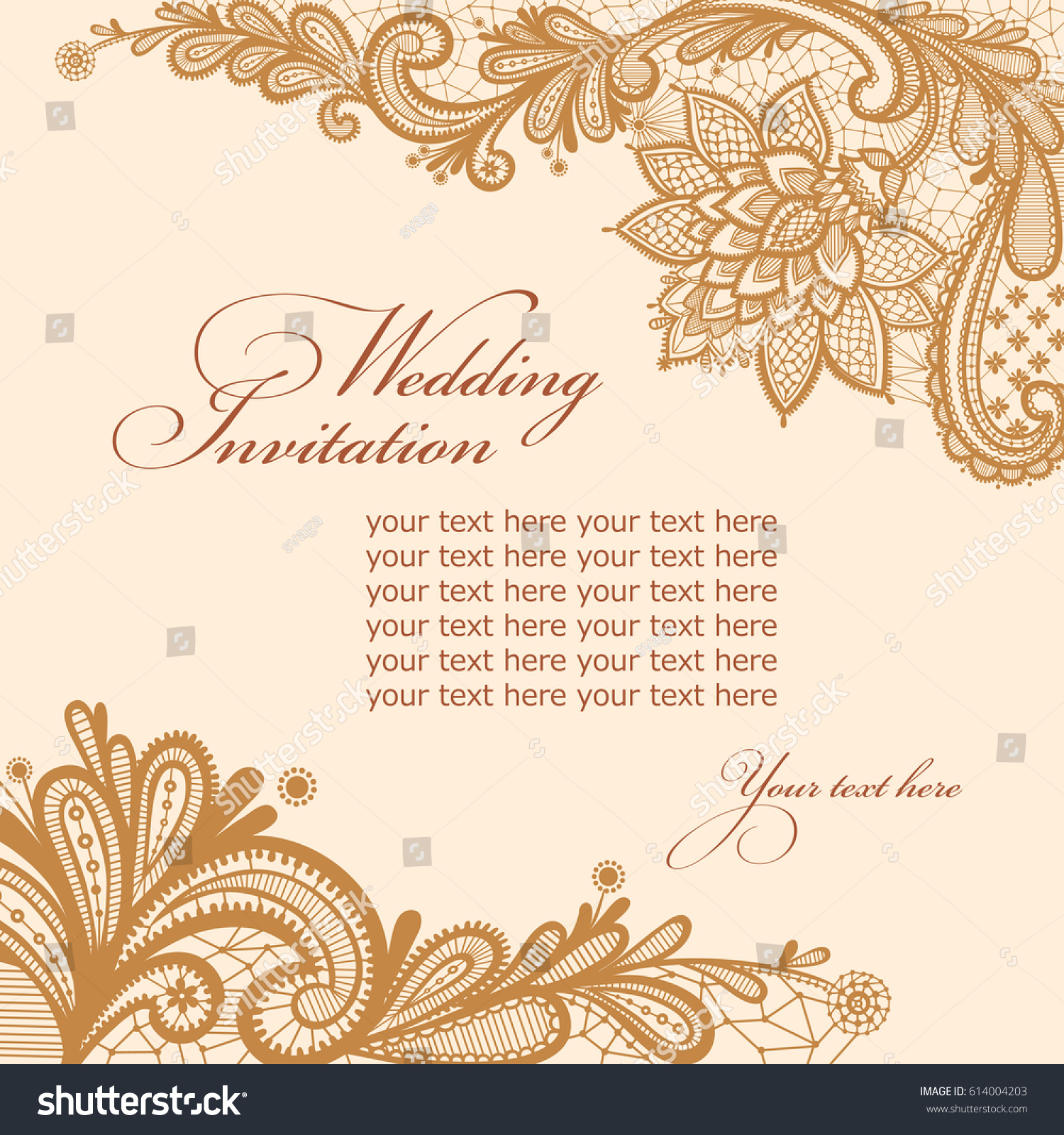 Wedding Invitation Card Lace Text Vector Stock Vector 614004203 ...
