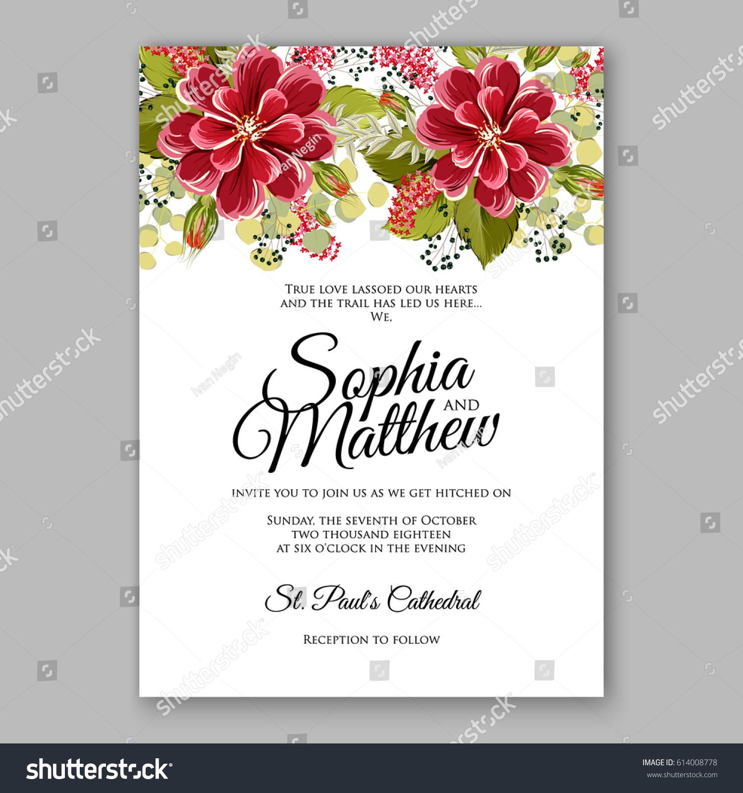 Soft Red Dahlia Wedding Invitation Card Stock Vector (2018 ...