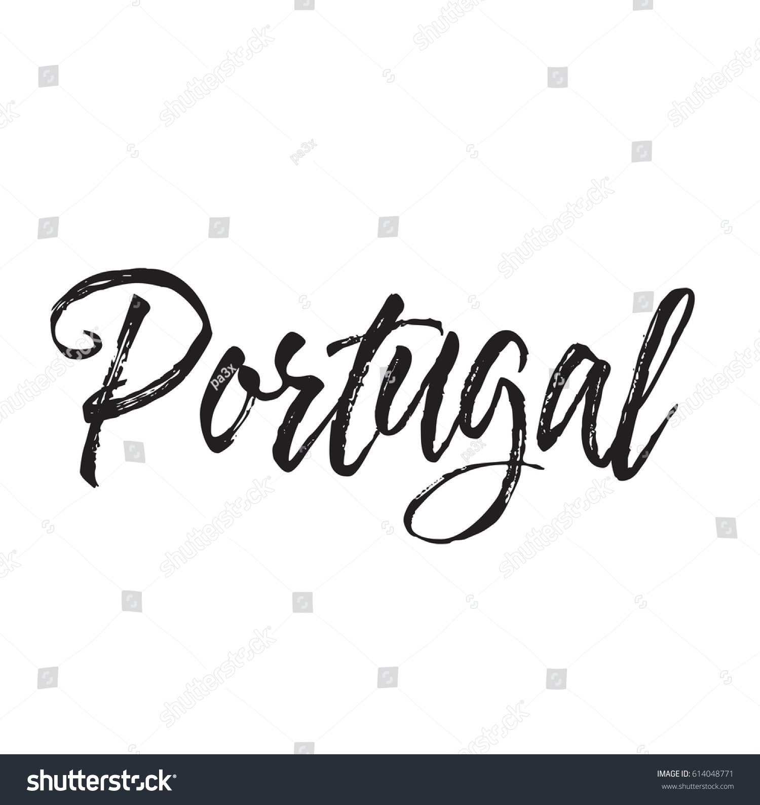 Portugal Text Design Vector Calligraphy Typography Stock