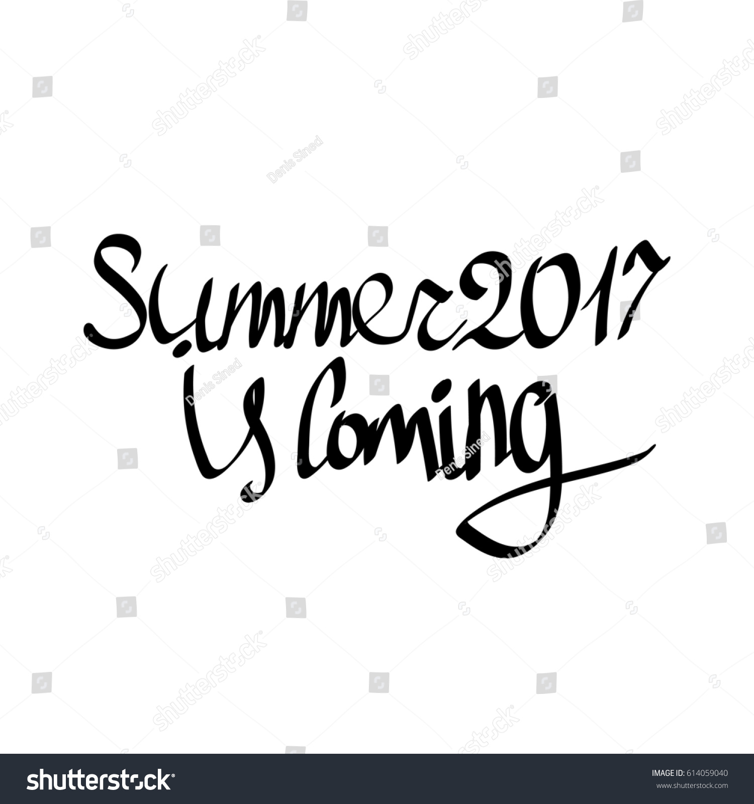Summer 2017 Coming Isolated Calligraphy Lettering Stock