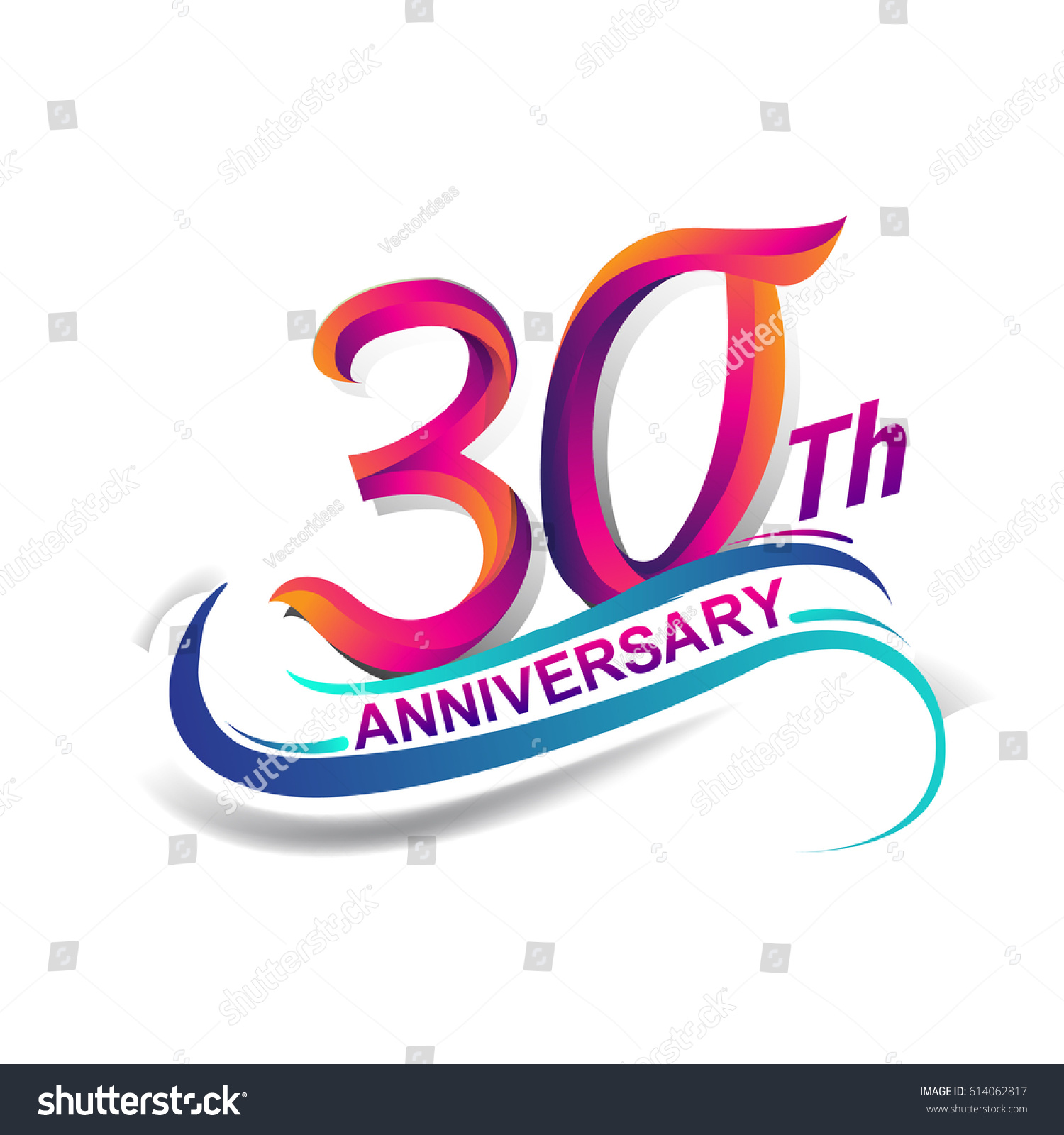 30 Year Anniversary Symbol: 30th Anniversary Celebration Logotype Blue Red Stock
