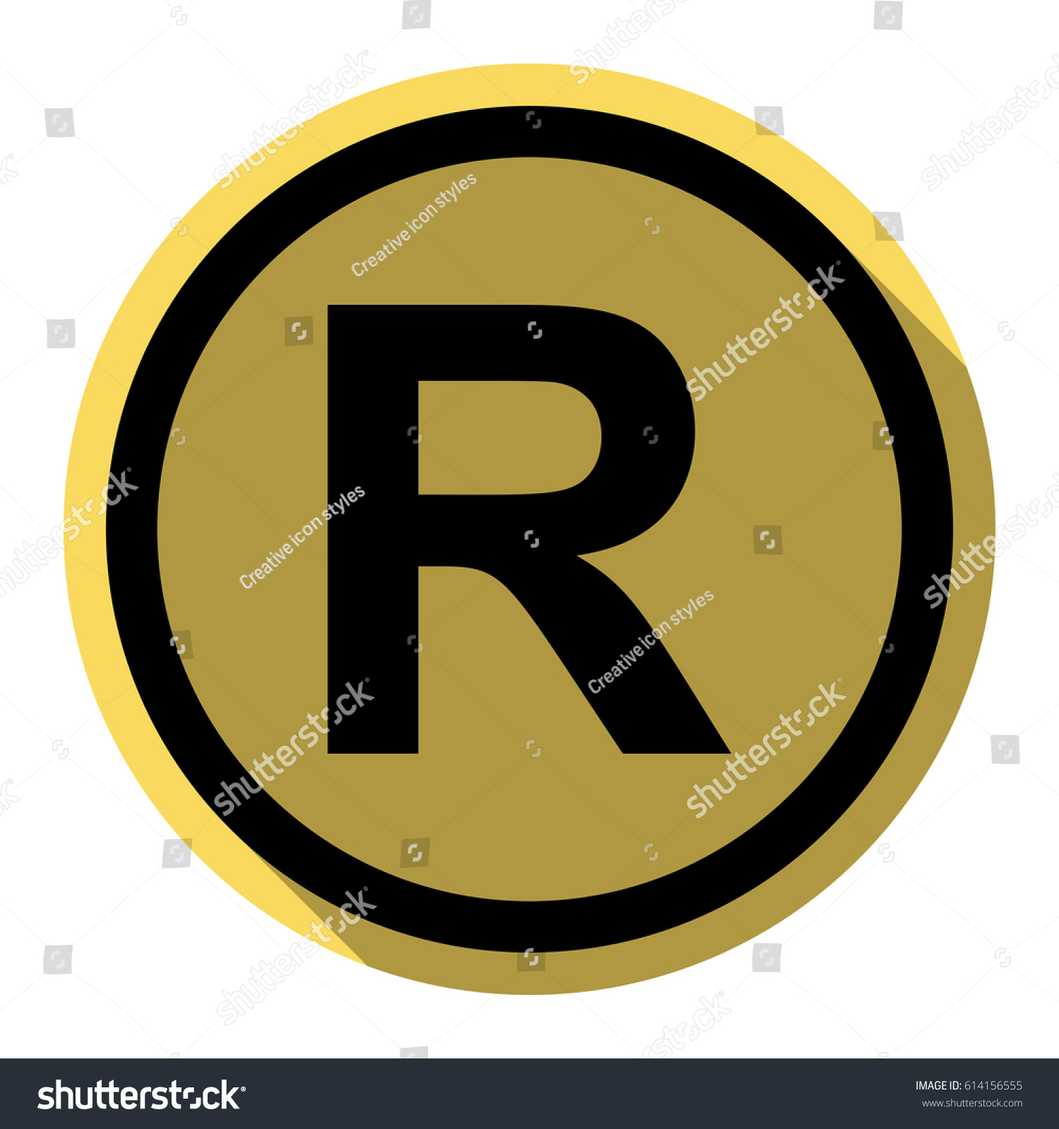 Registered Trademark Sign Black Icon With Flat Style Shadow Path On