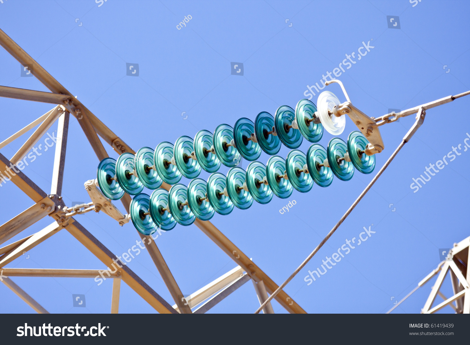 High Voltage Insulator Failures : High voltage electrical insulator electric line against