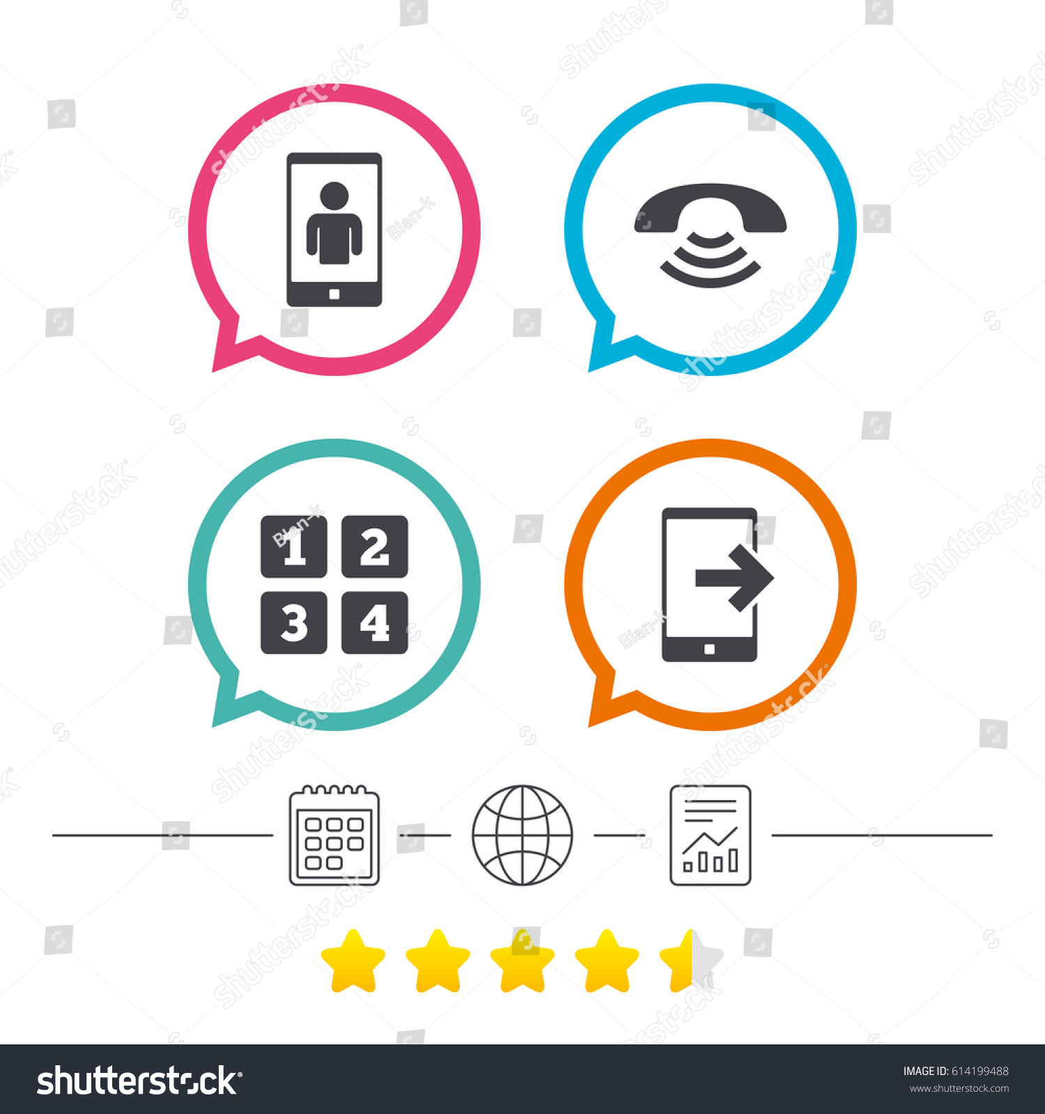 Phone Icons Smartphone Video Call Sign Stock Vector Royalty Free