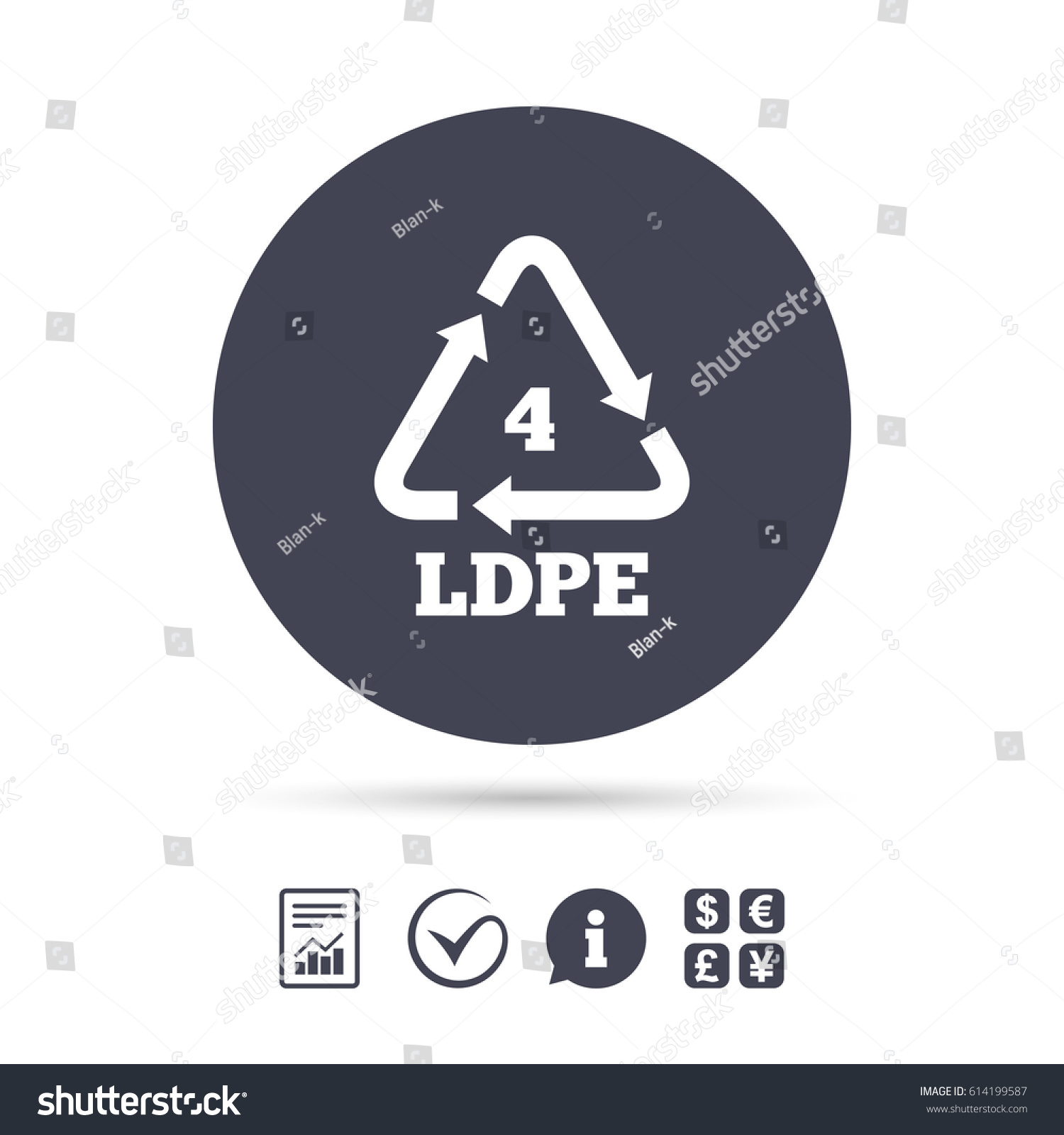 Ldpe 4 icon lowdensity polyethylene sign stock vector 614199587 ld pe 4 icon low density polyethylene sign recycling symbol report biocorpaavc Choice Image
