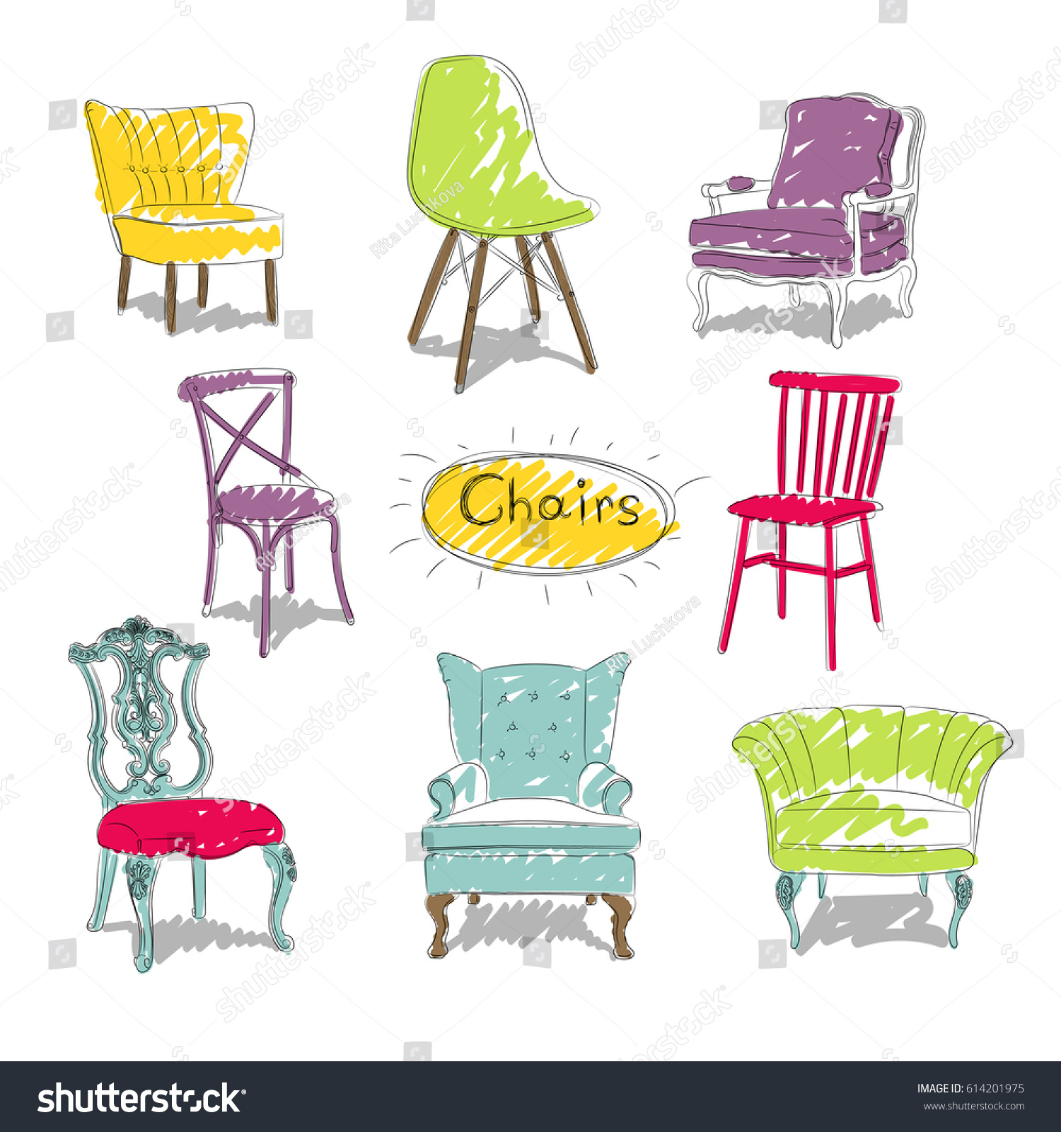 Sketch different types chairs stock illustration 614201975 for All types of chairs